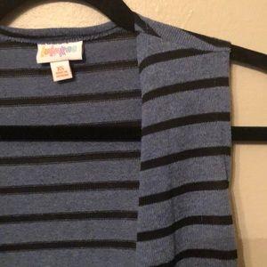 Blue Lularoe Joy with Black Stripes!